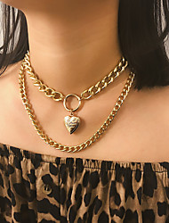 cheap -Women's Pendant Necklace Statement Necklace Double Layered Heart Statement Punk Trendy Casual / Sporty Alloy Gold Silver 34+11 cm Necklace Jewelry 1pc For Anniversary Street Gift Birthday Party
