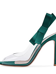 cheap -Women's Heels Stiletto Heel Pointed Toe Satin / PVC(Polyvinyl chloride) Minimalism Spring & Summer / Fall & Winter Green / Silver / Black / Party & Evening