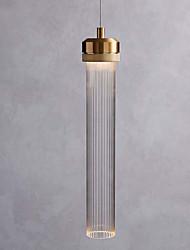 Недорогие -одиночный подвесной светильник минималистский подвесной светильник стеклянный плафон цилиндр подвесной светильник окружающий свет гальванический матовый металл новый дизайн светодиод теплый белый