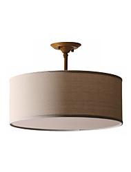 abordables -pendnat light lin suspension ronde suspension tambour suspension lumière ambiante campagne américaine corde de chanvre lustre fer et lin 3 lumières