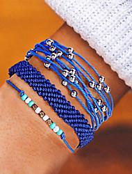 cheap -3pcs Women's Wrap Bracelet Vintage Bracelet Earrings / Bracelet Layered Weave Simple Classic Vintage Fashion Cord Bracelet Jewelry Blue / Pink / Light Blue For Daily School Street Holiday Festival