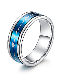 cheap -Women's Band Ring Ring Cubic Zirconia 1pc Black Blue Titanium Steel Stylish Basic Casual / Sporty Gift Daily Jewelry
