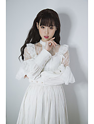 cheap -Artistic / Retro Traditional / Vintage Vintage Dress Costume Petticoat Hoop Skirt Party Dress Female Cotton Cosplay Costumes White Solid Color Vintage Lace Juliet Sleeve Long Sleeve Long Length