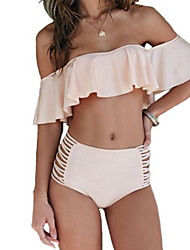 cheap -Women's High Waisted Swimsuit Swimwear Sleeveless 2-Piece - Swimming Diving Patchwork Spring / Micro-elastic
