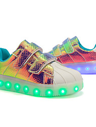 cheap -Boys' Girls' Sneakers LED Shoes USB Charging PU LED Shoes Little Kids(4-7ys) Big Kids(7years +) Daily Walking Shoes LED White Black Purple Fall Spring / Striped