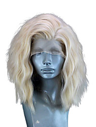cheap -Synthetic Lace Front Wig Wavy Side Part Lace Front Wig Blonde Short Light golden Synthetic Hair 10-14 inch Women's Adjustable Heat Resistant Party Blonde