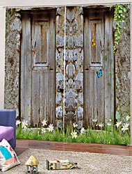cheap -3D Clear Wooden Door Print Waterproof Mouldproof Polyester Bath Curtain Heat / Sound Insulation Blackout Curtains for Dedroom / Living Room