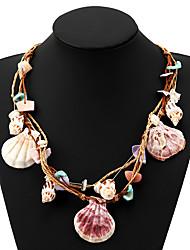 Недорогие -Жен. Многоцветный Ожерелья-бархатки Плетение Цветы и растения Морская раковина Богемный Морская раковина Цвет радуги 70 cm Ожерелье Бижутерия 6шт Назначение