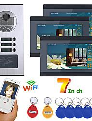 Недорогие -7-дюймовый проводной Wi-Fi 3 квартиры / семейного видео домофон домофон RFID IR-Cut HD 1000tvl камера дверной звонок камера с 3 кнопками 3 монитора