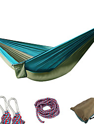 cheap -Camping Hammock Double Hammock Outdoor Portable Breathable Ultra Light (UL) Parachute Nylon with Carabiners and Tree Straps for 2 person Hunting Fishing Hiking Yellow-Brown Violet Blue / Green