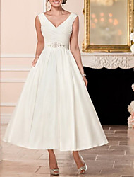 cheap -A-Line V Neck Ankle Length Satin Cap Sleeve Vintage Little White Dress / 1950s Wedding Dresses with Beading 2020