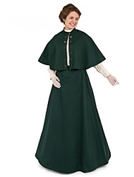cheap -Duchess Victorian Ball Gown 1910s Edwardian Dress Party Costume Women's Costume Dark Green Vintage Cosplay Masquerade Long Sleeve Floor Length Long Length Ball Gown Plus Size / Blouse / Shawl / Shawl