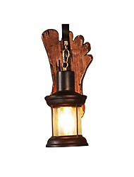 cheap -Retro Style Rustic Indoor LightWood Base Metal Structure Vintage Wall Sconce Fixture Industrial Lamp Glass Shade Decor Lantern Lighting Farmhouse Sconces Metal Lights