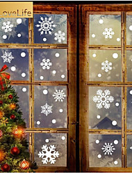 cheap -76pcs/set Removable Snowflake Shape Wall Sticker Static Art Mural for Christmas Window Glass Door Decoration