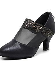 cheap -Women's Modern Shoes / Ballroom Shoes Synthetics Zipper Heel Splicing Cuban Heel Customizable Dance Shoes Black / Performance