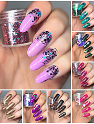 cheap -8 Boxes Chunky Glitter Nail Sequins Iridescent Flakes Ultra-thin Tips Colorful Mixed Paillette Festival Glitter Cosmetic Face Hair Body Glitter Nail Art