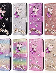 cheap -Case For Samsung Galaxy A5(2018) / A6 (2018) / A6+ (2018) Wallet / Card Holder / Shockproof Full Body Cases Butterfly / Glitter Shine / Flower Hard PU Leather