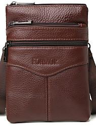 cheap -Men's Zipper Cowhide Crossbody Bag Solid Color Black / Light Coffee / Coffee / Fall & Winter
