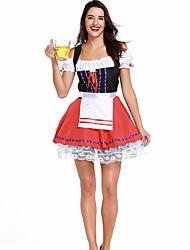 cheap -Oktoberfest Beer Dirndl Trachtenkleider Women's Dress Bavarian Costume Red