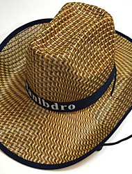 cheap -Men's Basic 1930s Straw Straw Hat Sun Hat-Solid Colored Summer Fall Black Red Khaki