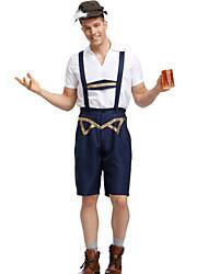 abordables -Fête d'Octobre Tenue Lederhosen Homme Chemisier Pantalon Chapeau Bavarois Costume Marine foncé