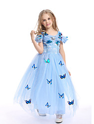 cheap -Princess Dress Flower Girl Dress Girls' Movie Cosplay A-Line Slip Butterfly Pattern Dress White / Yellow / Blue Dress Children's Day Masquerade Mixed Material
