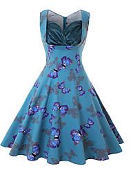 cheap -Elegant Dress Women's Spandex Costume Black / Green / Burgundy Vintage Cosplay 3/4-Length Sleeve Knee Length