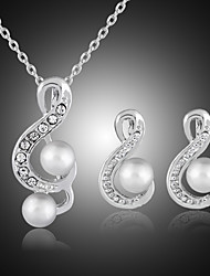cheap -Women's Stud Earrings Pendant Necklace Cut Out Music Notes Stylish Classic Imitation Pearl Silver Plated Earrings Jewelry Silver For Daily Work 1 set
