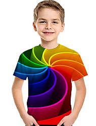 cheap -Kids Toddler Boys' Active Basic Geometric Print Color Block Print Short Sleeve Tee Rainbow