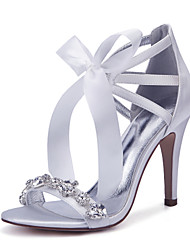 cheap -Women's Wedding Shoes Stiletto Heel Round Toe Rhinestone / Bowknot / Satin Flower Satin Classic / Sweet Spring / Spring & Summer Burgundy / Champagne / Ivory / Party & Evening