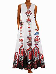 cheap -Women's Vintage A Line Dress - Maxi Polka Dot Striped Print Light Blue White Black S M L XL
