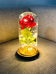 cheap -Beauty and The Beast Rose Red Silk Rose LED Lights Lasts Forever in Glass Dome on Wooden Base Gift for Valentine's Day Wedding Anniversary Birthday