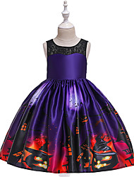 cheap -Kids Toddler Girls' Vintage Basic Patchwork Lace Print Sleeveless Above Knee Dress Purple