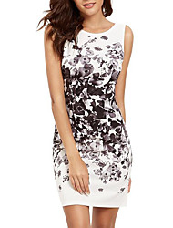 cheap -Women's Mini White Dress Basic Sheath Color Block Print S M Slim