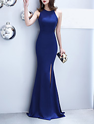 cheap -Mermaid / Trumpet Elegant & Luxurious Sexy Formal Evening Dress Jewel Neck Sleeveless Sweep / Brush Train Satin with Split Front 2020