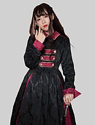 abordables -Traditionnel / Vintage Rétro Vintage Classic Lolita Robe Costume de Soirée Costume Robe de fête Femme Japonais Costumes de Cosplay Noir Couleur unie Jacquard Rétro Bouffantes Manches Longues Long
