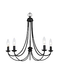 cheap -5-Light American Chandelier Living Room Pendant Light Metal Pendant Lamp 5 Lights Hanging Lamp Retro Black Chandeliers for Living Room Bedroom Bar Cafe