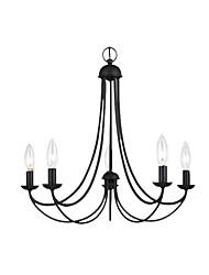 Недорогие -Американская люстра гостиная подвесной светильник металлический подвесной светильник 5 ламп подвесной светильник ретро черные люстры для гостиной спальня бар кафе