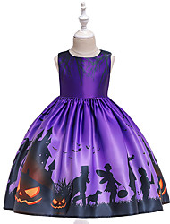 cheap -Kids Toddler Girls' Vintage Basic Solid Colored Print Sleeveless Above Knee Dress Purple