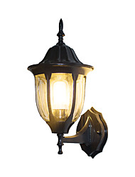 cheap -Vintage Metal Outdoor Wall Sconce Antique Black Metal Outdoor Wall Light with Glass Shade for Garden Yard Villa Hallway