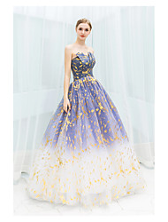 cheap -Ball Gown Strapless Floor Length Tulle Sparkle / Blue Prom / Quinceanera Dress with Sequin / Pattern / Print 2020