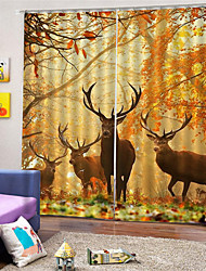 cheap -3D Deer Printed Custom Privacy Two Panels Polyester Curtain For Outdoor / Living Room Decorative Waterproof Dust-proof High-quality  Curtains