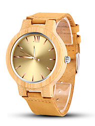 cheap -Men's Dress Watch Quartz Formal Style Vintage Style Leather Yellow Casual Watch Wooden Analog Luxury Fashion - Green Blue Golden One Year Battery Life