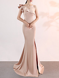 cheap -Mermaid / Trumpet Elegant Pink Engagement Formal Evening Dress One Shoulder Sleeveless Sweep / Brush Train Satin with Ruffles Split 2020