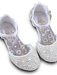 cheap -Girls' Comfort / Tiny Heels for Teens PU Heels Little Kids(4-7ys) / Big Kids(7years +) Beading White / Pink Spring / Party & Evening