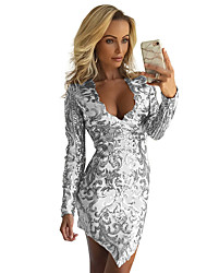 cheap -Diva Disco 1980s Dress Women's Sequins Costume Red+Golden / White Vintage Cosplay Prom Long Sleeve Above Knee A-Line