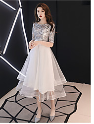 cheap -A-Line Sparkle White Cocktail Party Prom Dress Jewel Neck Half Sleeve Tea Length Satin Tulle Sequined with Sequin Tier 2020