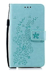 cheap -Case For Nokia Wallet / Card Holder / Shockproof Full Body Cases Solid Colored / Flower PU Leather