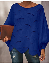 cheap -Women's Solid Colored Long Sleeve Flare Sleeve Pullover Sweater Jumper, Scoop Neck Spring / Fall Black / White / Blushing Pink S / M / L