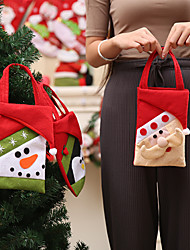cheap -Christmas Series Pattern Candy Bag Handbag Container for Xmas Home Party Decoration Kids Gift Bag
